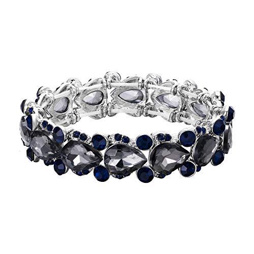EVER FAITH Damen Armband österreichischen Kristall Hochzeit Braut Floral Tear Drop elastische Stretch-Armband Armreif Schwarz Silber-Ton