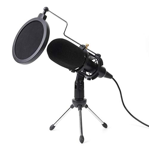 LDGGS USB Condenser Microphone Studio Mic with Folding Stand Tripod Filter Sponge for PS4 Game Computer Dedicated live