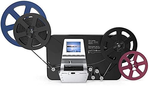 8mm & Super 8 Reels to Digital MovieMaker Film Sanner Converter, Pro Film Digitizer Machine with 2.4' LCD, Convert 5 inch and 8 inch 8mm Super 8 Film reels into 1080P Digital Videos