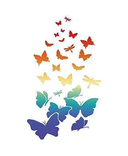 Stamperia Schablone Schmetterlinge und Libellen 21x29,7cm Vogelschwarm Motive