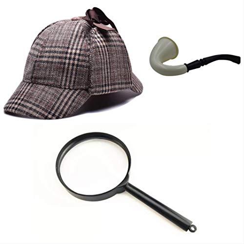 thematys Sherlock Holmes Deerstalker Mütze + Pfeife + Lupe Detektiv Kostüm-Set - perfekt für Fasching & Karneval - Einheitsgröße (Style 1)