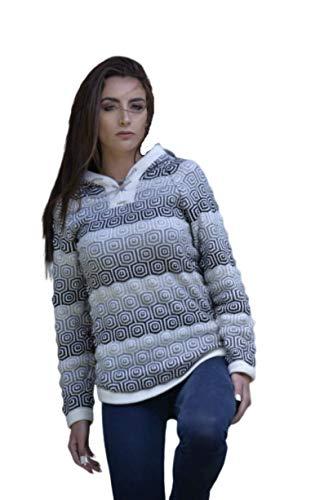 Gamboa - Hooded Alpaca Sweater - Stylish Alpaca Sweater for Women - Black White and Grey