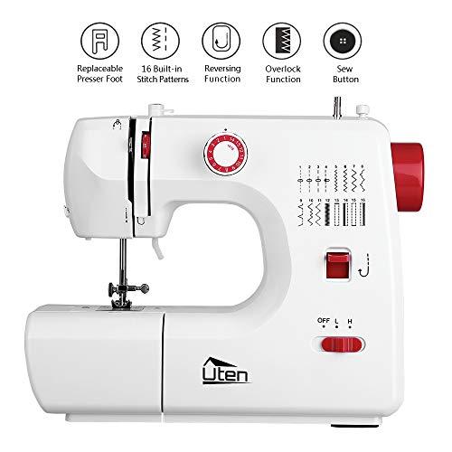 Uten Mini máquina de coser con 16 programas de puntadas para principiantes (versión mejorada)