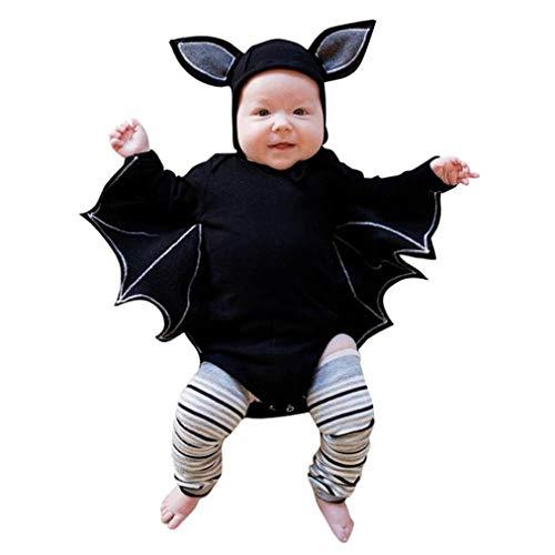 Disfraz Halloween Niña Niño Bebe Fossen Recién Nacido Bebé Monos de Manga murciélago Tops con Sombrero de Oreja (12 Meses, Negro)