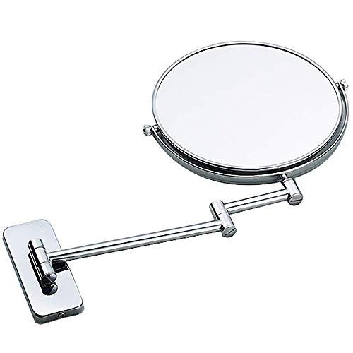 spiegel, badkamer wandgemonteerde make-upspiegel 360 graden; draaibare 8 (of 6) inch dubbelzijdige opvouwbare make-upspiegel, boorwater- en vochtbestendigheid koperen verchroomd, 8 inch