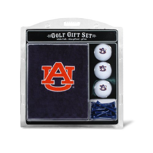 Team Golf NCAA Auburn University Tigers Gift Set Embroidered Golf Towel, 3 Golf Balls, and 14 Golf Tees 2-3/4