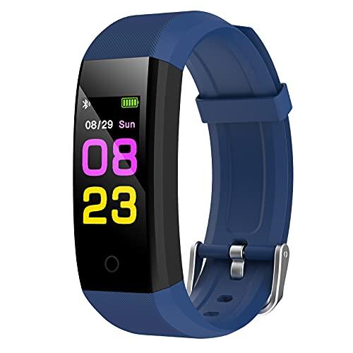 GeeRic Orologio Fitness Tracker,Smartwatch Tracker Donna Uomo con Saturimetro Pressione Sanguigna IP67 Cardiofrequenzimetro da Polso Contapassi Smartband Sportivo Activity Tracker per Android iOS Blu
