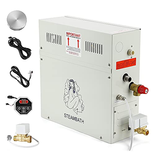 CGOLDENWALL 9KW Luxury Self-draining Steam Generator Shower Sauna Bath Home Steam Bath Spa Generator with waterproof Control and Auto Drain 95-131℉ For suitable space heating 8.5 m³ (300 ft3)