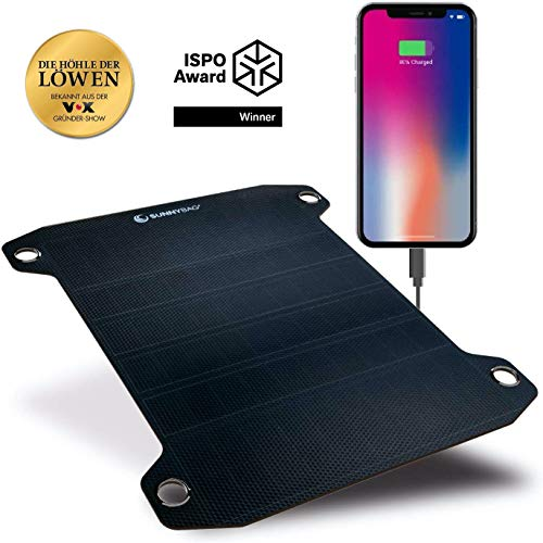 SUNNYBAG Leaf+ | Premium Outdoor Waterproof Solar Charger for All Smartphones, Tablets and More Incl. 10.000 mAh Power Bank | The World's Lightest and Strongest Flexible Solar Panel