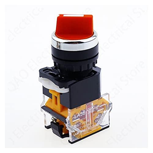 WHBGKJ Interruptor Giratorio Interruptor selector de Auto-Bloqueo de 22 mm 1NO1NC 2/3 Posiciones Interruptores giratorios DPST 4 Tornillos 10A400V Interruptor de Encendido/Apagado Rojo Verde Negro
