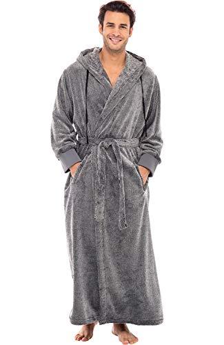 Alexander Del Rossa Men's Warm Flannel Fleece Robe with Hood, Big and Tall Bathrobe, Small-Medium Gray Stripe Limited Edition (A0452W18MD)