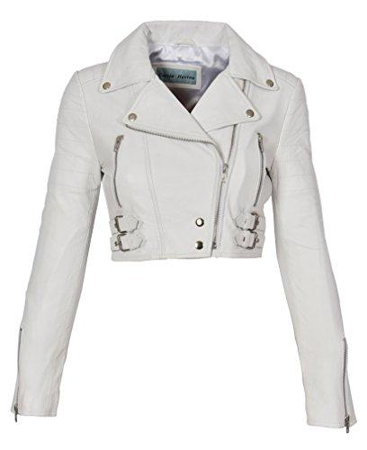 Damen Kurz geschnitten Kurz Länge Lederjacke Slim Fit Biker Style Demi Weiß (L - 40)