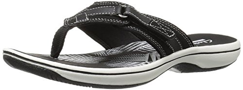 Clarks Women's Breeze Sea Flip Flop, New Black Synthetic, 10 B(M) US
