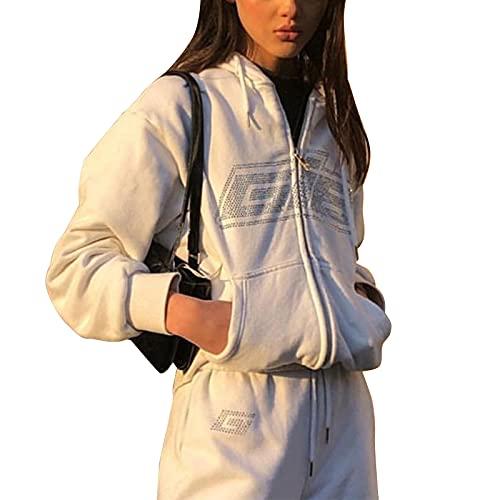 Felpa con Cappuccio Oversize da Donna con Zip Felpa con Cappuccio Grafica Y2K Lettere con Strass Felpe con Cappuccio Vintage E-Girl Anni '90 Streetwear (White, Small)