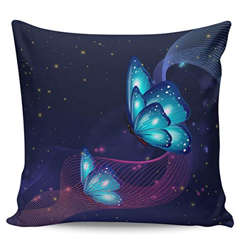 Throw Pillow Couch Cushion Cover 24 x 24 in, Cozy and Soft Home Decor, Dazzling Butterflies Square Pillow Case for Sofa, Bench, Living Room, Bedroom Music Stripes Starry Sky Background