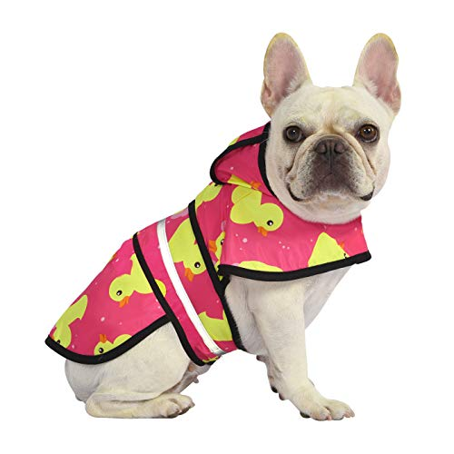 HDE Dog Raincoat Hooded Slicker Poncho for Small to X-Large Dogs and Puppies (Pink Ducks, Small)