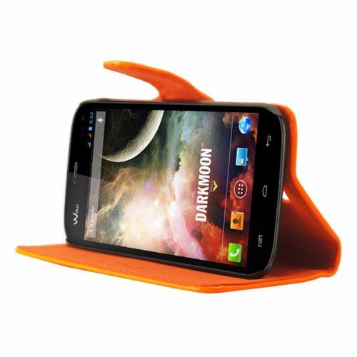 Mocca Design Folio-Tasche für Wiko Darkmoon (Kunstleder), Orange
