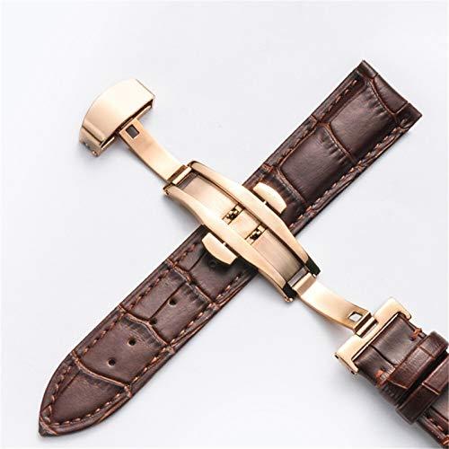 MGHN Correa de Reloj Cuero 18 mm 20 mm 22 mm 24 mm Reloj de Reloj de Cuero Hombres Mujeres Mariposa Hebilla Pulsera Reloj de Reloj (Band Color : Brown 04, Band Width : 20mm)