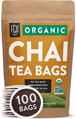 Organic Chai Tea Bags | 100 Tea Bags | Blend of Chinese Keemun Tea, Indian Assam Tea, Cinnamon, Cardamom, Cloves, Ginger, Black Pepper | Eco-Conscious Tea Bags in Kraft Bag | Blended in USA | by FGO