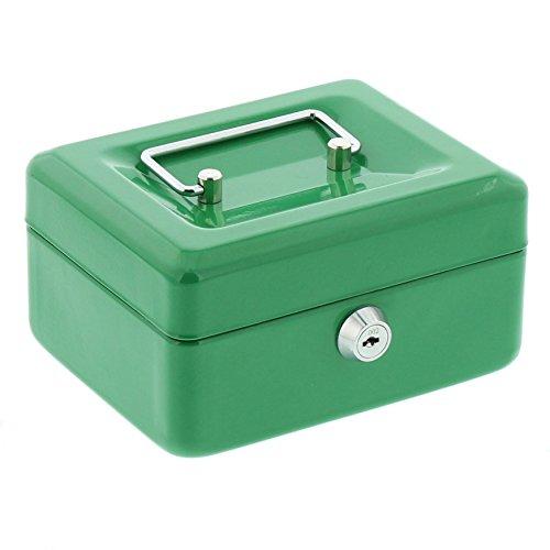BURG-WÄCHTER Geldkassette Money 5015, Stahlblech, Grün, Inkl. 2 Schlüssel und Hartgeldeinsatz