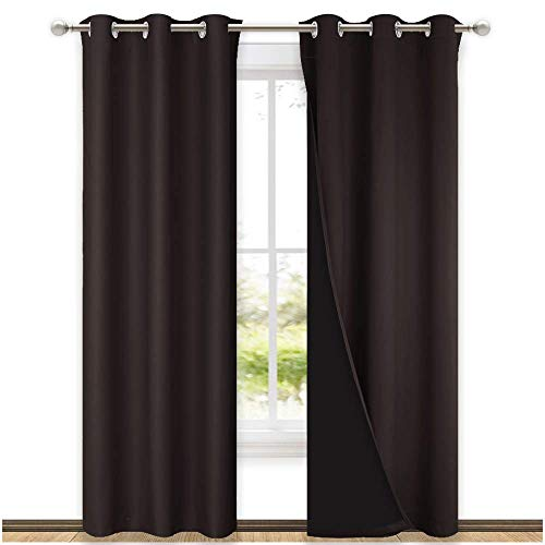 NICETOWN High End Thermal Curtains, Full Blackout Curtains 84 inches Long for Dining Room, Soundproof Window Treatment Drapes for Hall Room, Brown, 42 inches Wide Per Panel, Set of 2 Panels