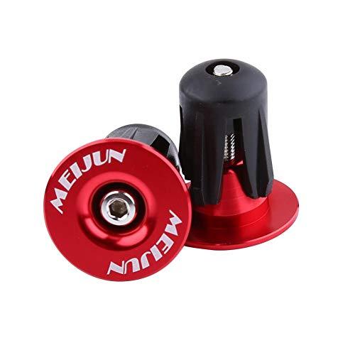 Alomejor Tapones de Extremo de Barra de Bicicleta de 2 Piezas Tapones de Extremo de Manillar de Bicicleta de aleación de Aluminio Colorido (Rojo)