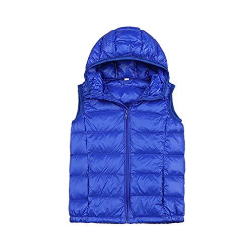 WXIANG Manteaux Girl Guert Down Gilet légère Fermeture à glissière Veste Hiver Gilet à Capuche Veste de Coton Chaude Survie pour garçons Filles Blousons (Color : Blue, Taille : Small)