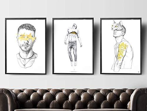 Gay Print Set, Gay Art Male Large, Gay Art Print, Gay Art Deco, Gay Artwork, Male Illustration, Minimal Decor, Gay Drawings, Gay Wall Decor