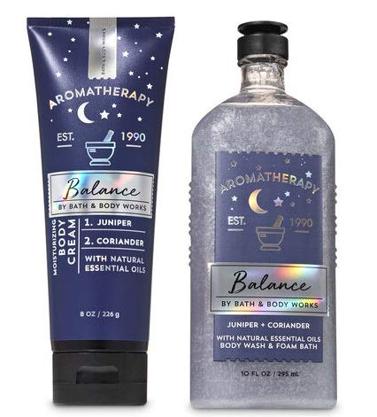 Bath and Body Works Aromatherapy BALANCE Gift Set JUNIPER CORIANDER - Body Wash & Foam Bath AND Body Cream - Full Size