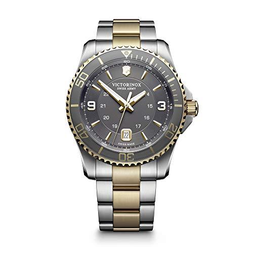 Victorinox Swiss Army Maverick - Reloj para hombre, Esfera gris, pulsera de acero inoxidable de dos tonos,
