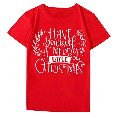 VJGOAL Donna 2019 Nuovo Natale T-Shirt Con Divertente Lettera - Tops Have Yourself A Merry Little Christmas - Per Festa Di Natale - Regalo Di Natale - La Migliore Decorazione Natalizia