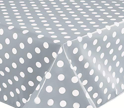 Nappe toile cirée PVC Rectangulaire 140 x 180 cm à pois Gris Clair