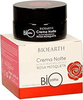 BIOEARTH - Night cream with rose hip oil - for mature, dry and atonic skin - with hyaluronic acid - Vegan - ICEA Certified - 50 ml