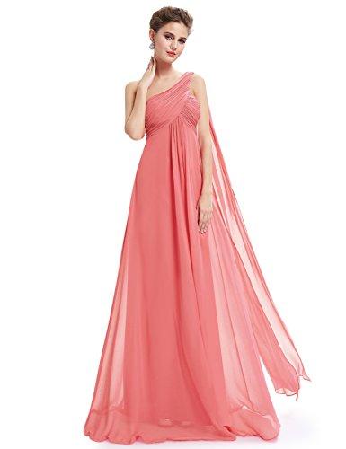 Ever-PrettyVestito da Ballo Donna Monospalla Linea ad A Chiffon Stile Impero con Cinghia Corallo 36