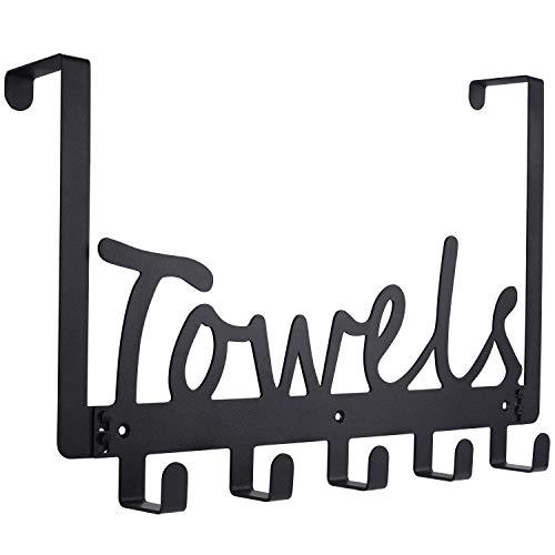 Bathroom Over The Door Towel Rack Holders Heavy-Duty Organizer on Cabinet Cupboard Doors for Towel, Robe,Coat, Bag,Keys - 5 Hooks