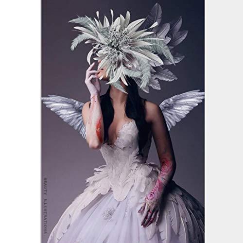 Jcnfa Pluma Mujer Enmascarada Tatuaje, Alas De Angel, Póster De Arte De Pared De Lona, para Decoración De Arte De Pared De Dormitorio/Sala De Estar, Sin Marco (Color : 01, Size : 60 * 120cm)