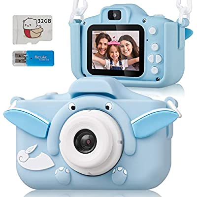 Kids Camera, ELEPOWSTAR Digital Camera 2.0 Inch for Boys Girls with HD 1080P Video Recorder & 32GB SD, Lanyard Anti-Drop Mini SLR Supports Game USB Transfers, Toy Camera for 3 to 12 Years Old Gifts by E ELEPOWSTAR
