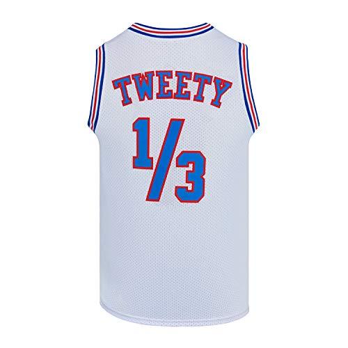 Mens Basketball Jersey 1/3 Tweety Space Jam Jersey White/Black (White, Small)