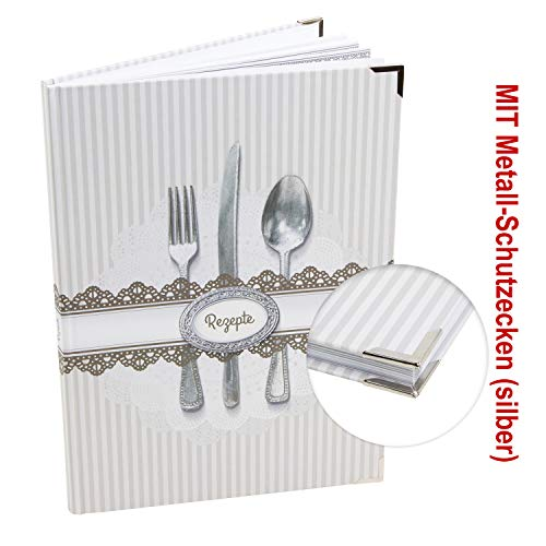 Logbuch-Verlag receptenboek om zelf te schrijven met en zonder metalen hoeken - wit grijs gestreept en houten plank motief mit Metallecken Wit-grijs gestreept