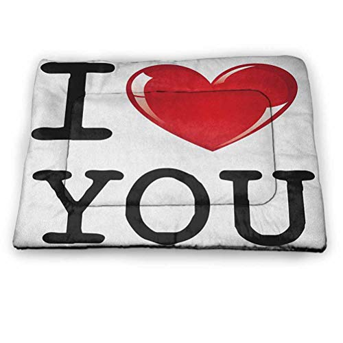 "Dog Bed Kennel Pad I Love You Absorbent, Durable & Washing Machine Safe Valentines Message Birthday Best Friends Love Celebration Together Theme for Dog Cat Indoor Outdoor Lawn Use (31""x21"")"