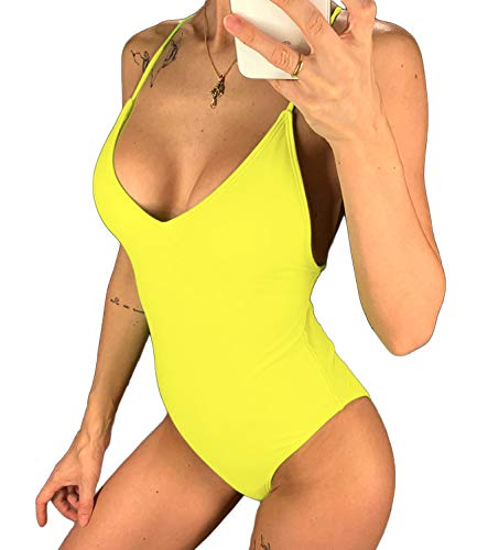 KIWI RATA 2019 Sexy Einteiler Badeanzug Frauen Bademode Frauen Solid Bikini Tanga rückenfrei Monokini Badeanzug -  Gelb -  Small