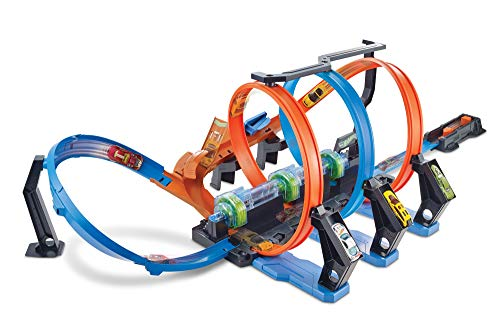 Hot Wheels FTB65 - Action Korkenzieher Crash Trackset und Rennbahn mit 3 Loopings und Beschleuniger für Spielzeugautos, Spielzeug ab 5 Jahren