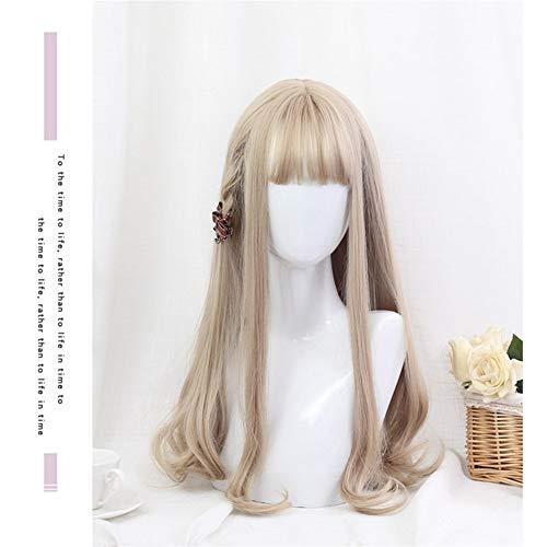 CNMJF Meisje lang krullend haar pruik Sexy Golden Blond dagelijks lolita zachte zuster cos Kostuum Cosplay Party Bruiloft Natuurlijke Pony