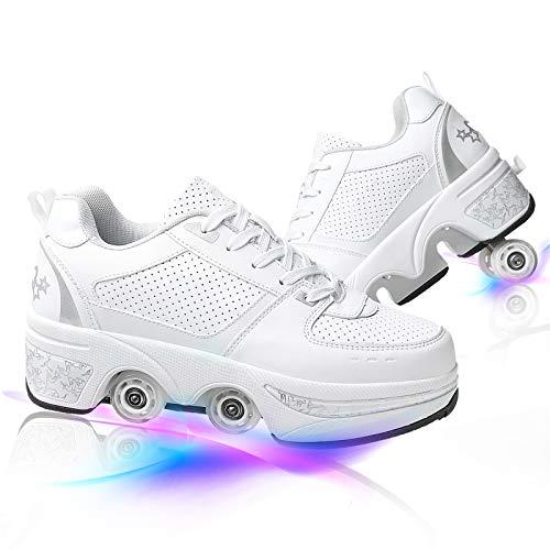 HealHeaters Patines En Paralelo Zapatos Multiusos 2 En 1 Deformación 4 Rueda Skate Ligeros Calzado para Niñas Y Niños Adolescentes Y Adultos