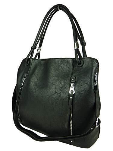 BELLA BELLY Damen Handtasche Naomi - Pastell Farben Auswahl - Leder Optik - Shopping Bag 4177-BB (schwarz)