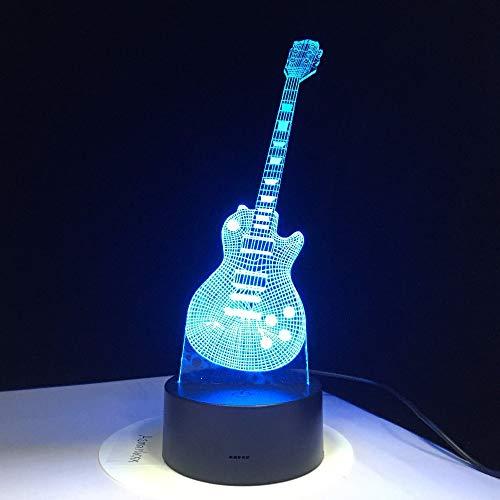 E-Gitarre Baby Musik oder Nachtlicht 3D LED Tischlampe Kinder Geburtstagsgeschenk Nachtzimmer Dekoration