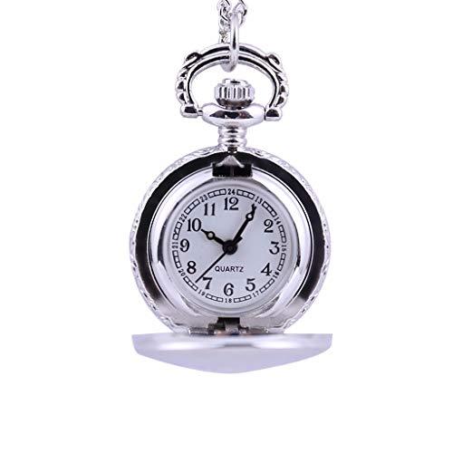 Reloj de Bolsillo para Hombre y Mujer, Cuarzo, Estilo Retro, diseño Hueco con Cadena, Cadena Larga, diseño de Esfera numérica Resistente al Agua