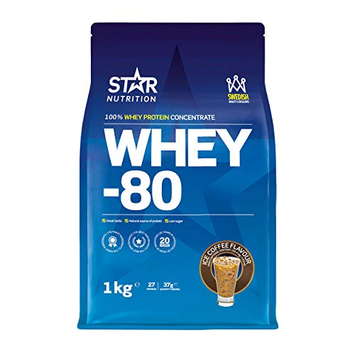 Star Nutrition | Whey 80 | Pure Concentrated Diet Whey Protein Powder with High Protein & Low Sugar | Protein Powders for Perfect Protein Shakes | Ice Coffee Flavor | 1Kg