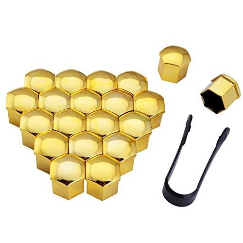 20pcs 17mm Auto Radmutter Bolzenabdeckungen Auto-Rad-Auto-Reifen-Rad-Nuss Hub Schraube Schutz Radmutter Bolt Head Cover Cap (Color : Gold)