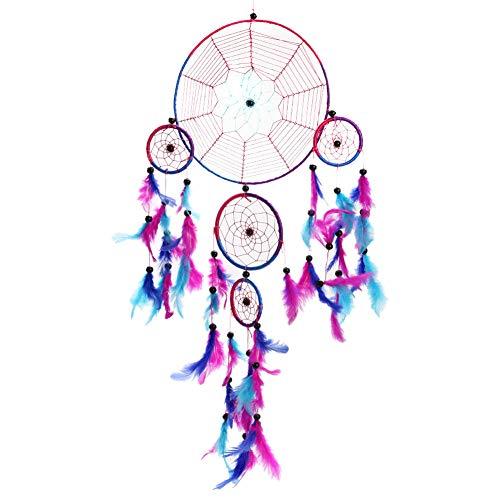 BDQZ Venta al por Mayor Colorido Cinco Anillos Dream Catcher decoración del hogar Arte asiático Dreamcatcher Anillo Cuerda Tela de araña Mimbre,Red